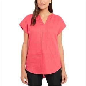 NWT Adrienne Vittadini XS Linen top shirt blouse